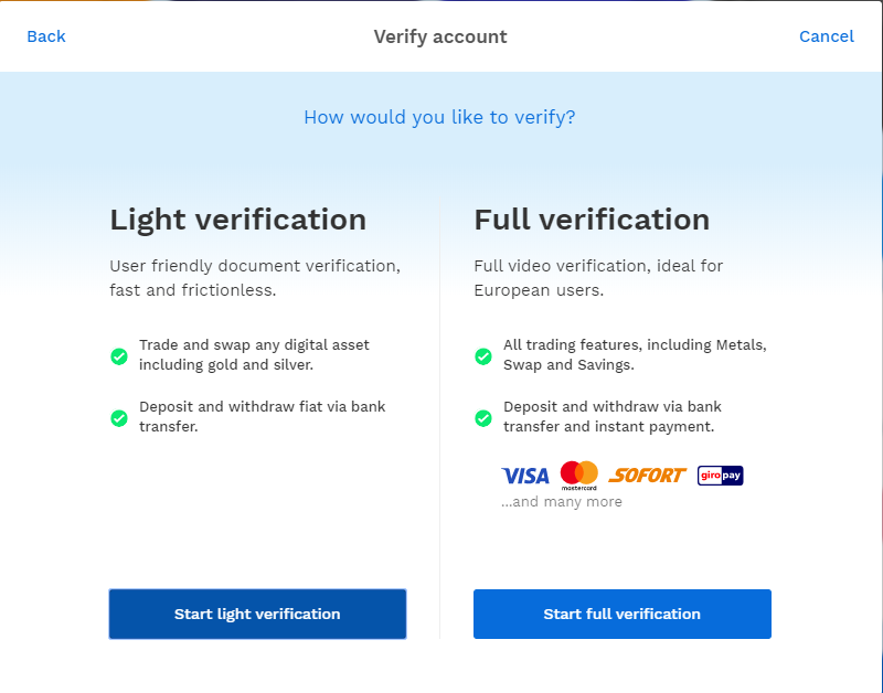 Light verification and full verification tabs
