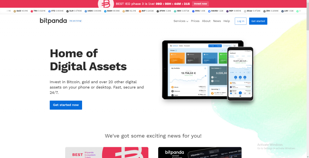 Bitpanda platform review homepage before logging in