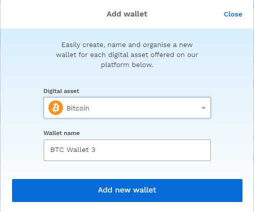 pop-up box when adding a new wallet on the bitpanda platform