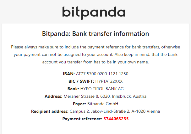The email confirmation bitpanda platform sends you when depositing