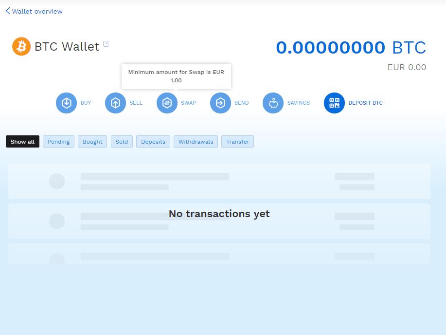 Bitpanda platform BTC wallet