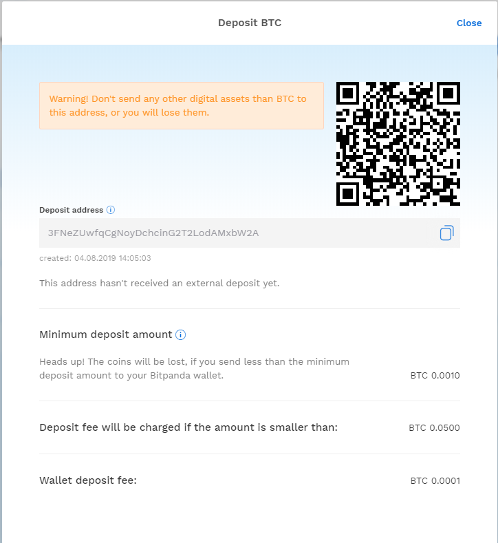 Depositing Bitcoins on the bitpanda platform