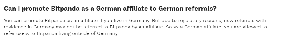 Affiliate program restrictions towards Germany