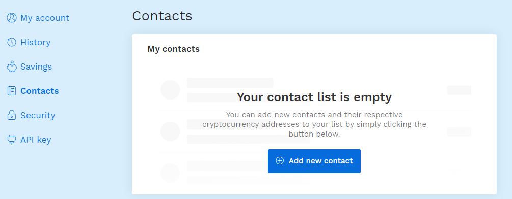 Contact settings in the profile on bitpanda