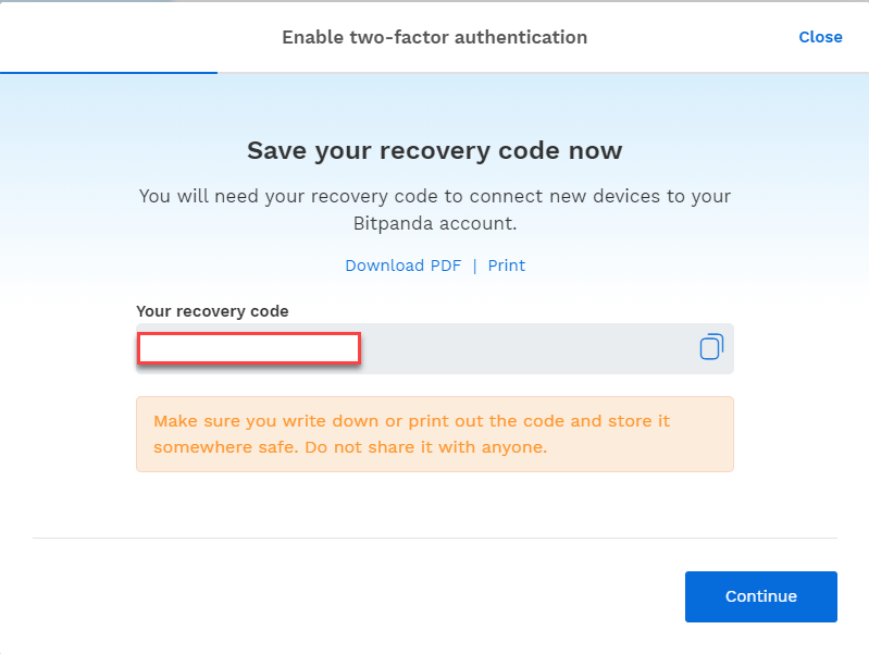 Recovery code on the bitpanda platform
