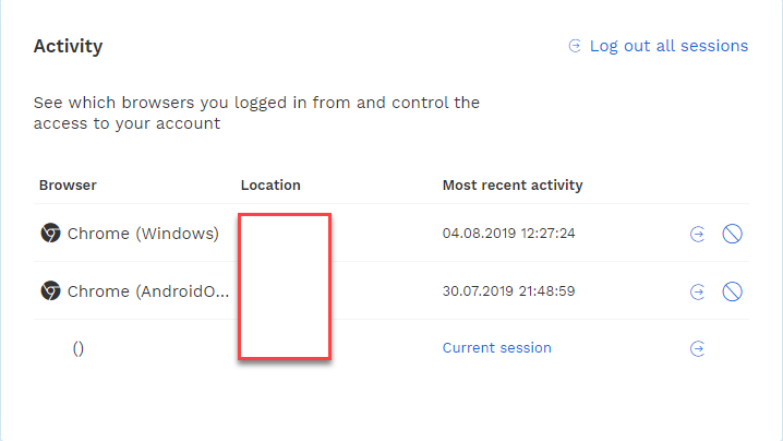 the login activity on your bitpanda platform account