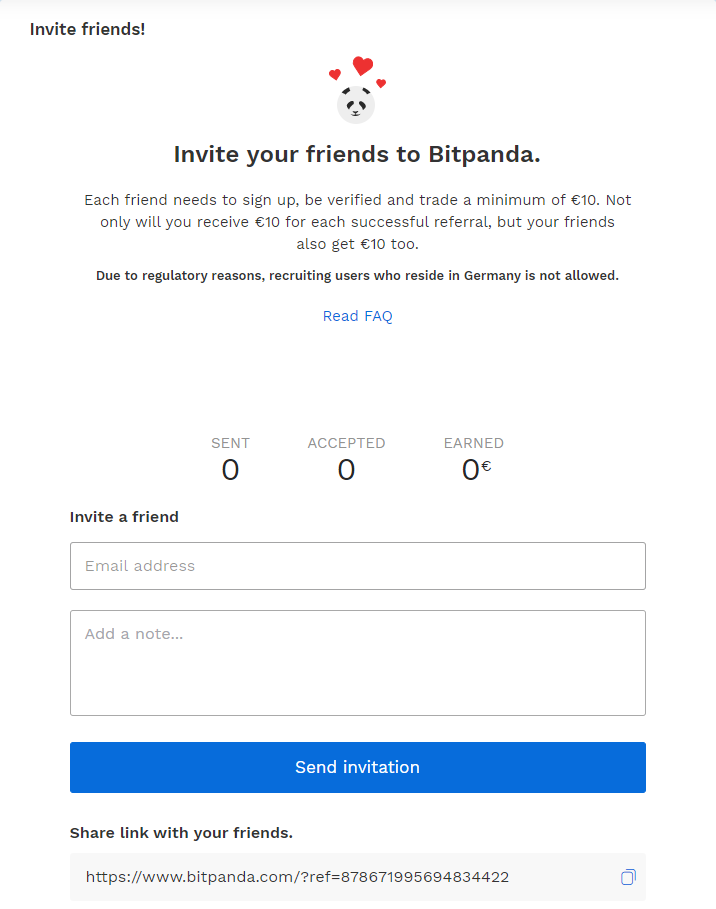 Inviting your friends on Bitpanda via Tell-a-friend feature