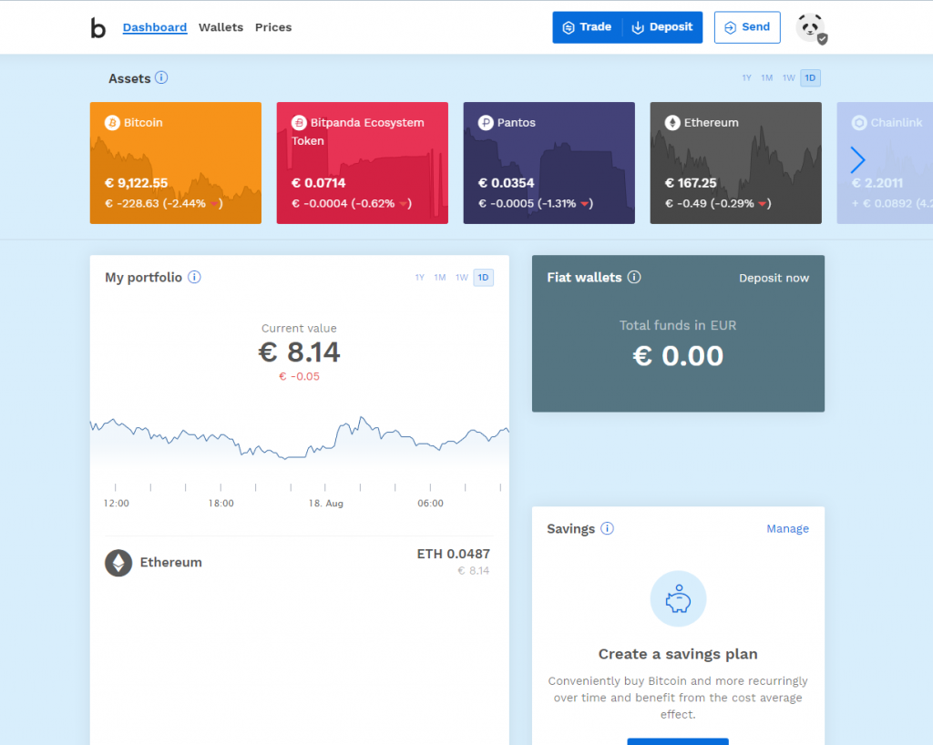 Bitpanda platform homepage interface