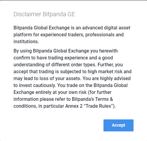Bitpanda GE disclaimer