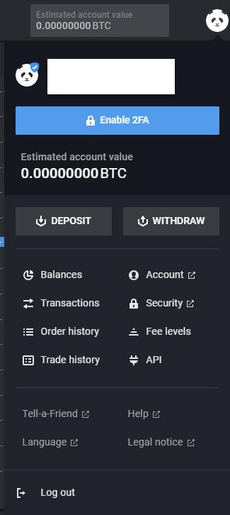 Bitpanda GE profile deposit button