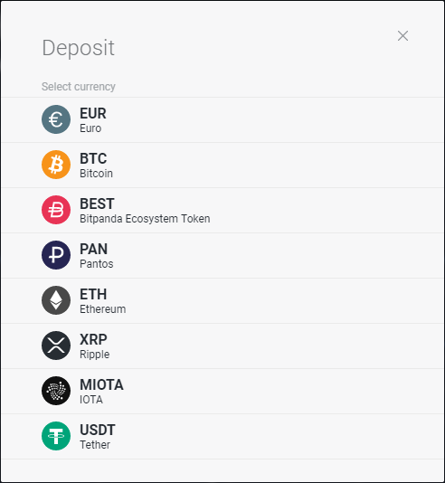 Choosing a currency when depositing on the bitpanda GE