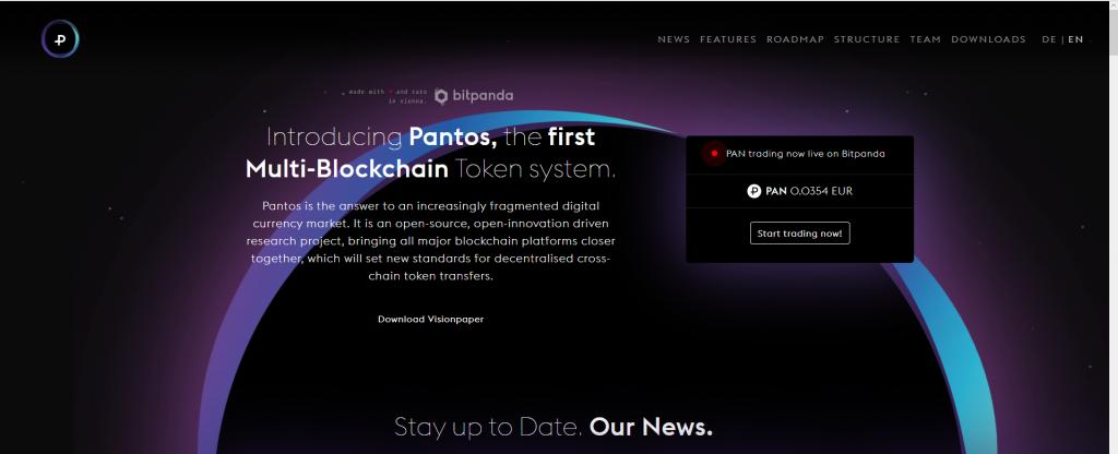 Pantos homepage